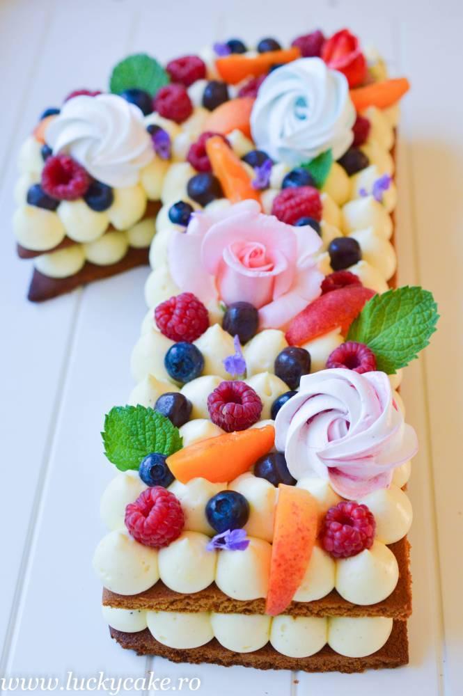 Tort Cifra Cu Crema De Lamaie Lucky Cake